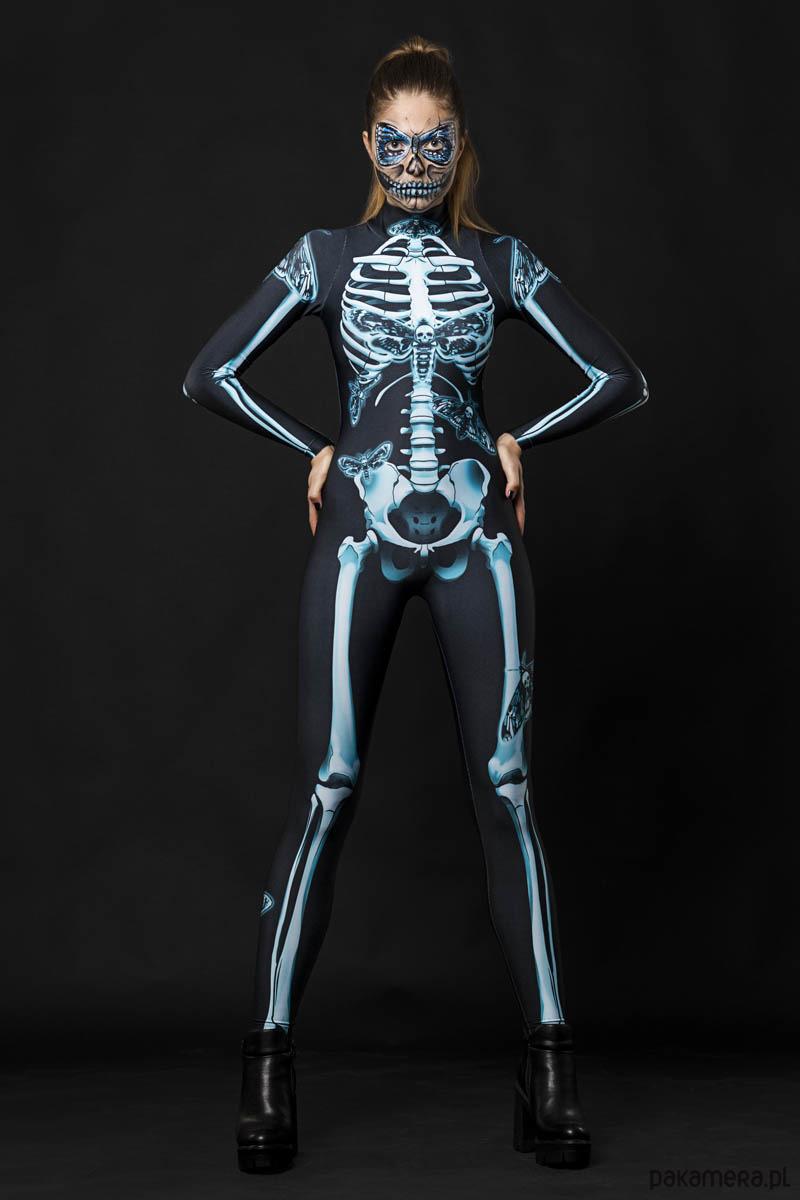 upiorny strój na halloween szkielet