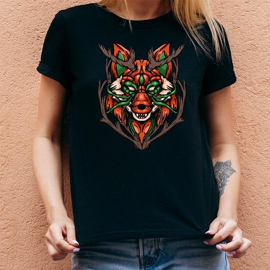 Koszulka damska czarna z nadrukiem Fox head
