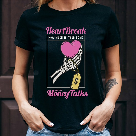 Koszulka damska czarna Heart break
