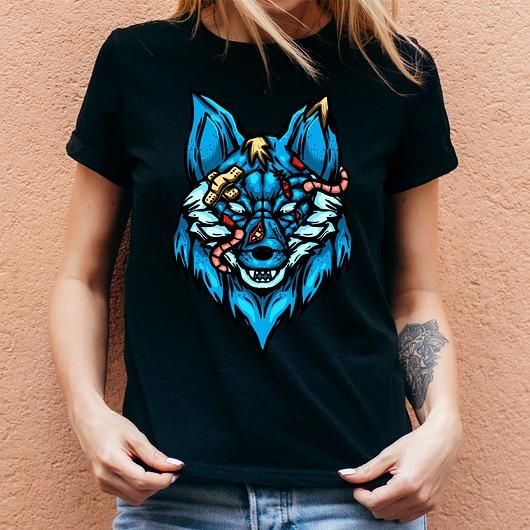 Koszulka damska czarna z nadrukiem Blue fox