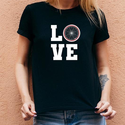 Koszulka damska czarna z nadrukiem Love bike