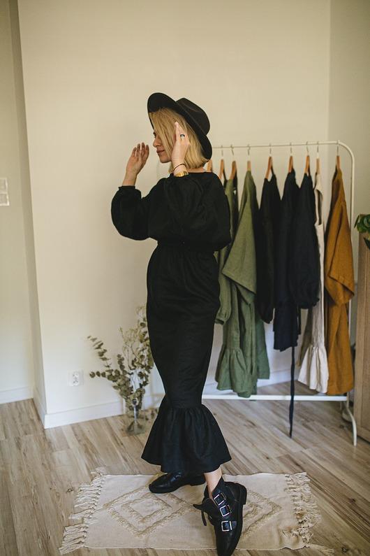 Lniana sukienka maxi boho