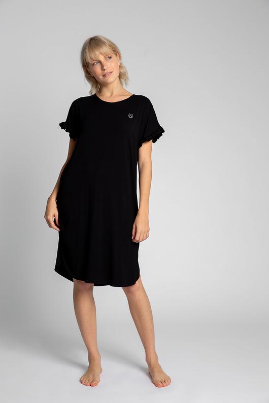 Koszula nocna z falbankami-czarna(LA-030)