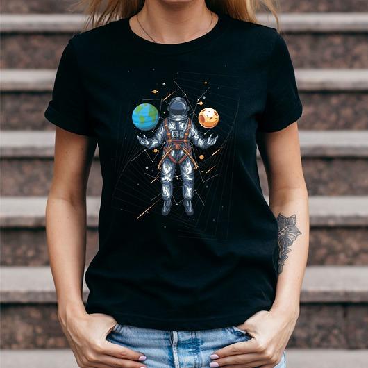 Koszulka damska czarna z nadrukiem Wszechświat