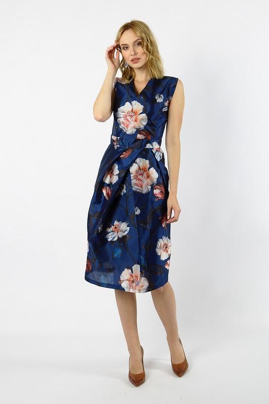 Jedwabna granatowa sukienka koktajlowa