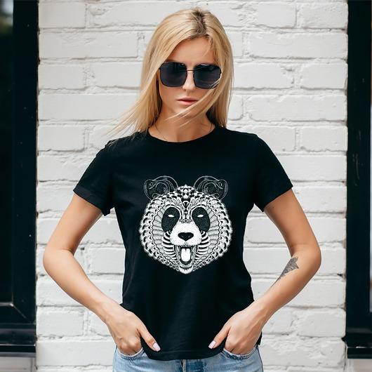 Koszulka damska czarna Panda