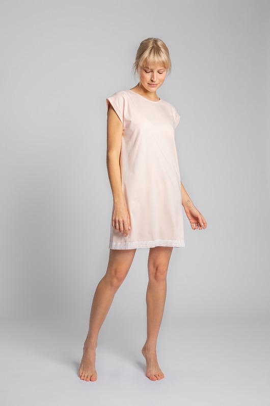 Koszula nocna z koronką-brzoskwiniowa(LA-043)