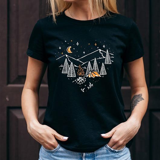 Koszulka damska czarna Camping