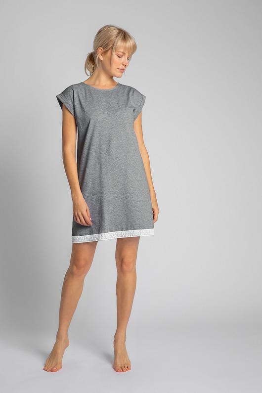 Koszula nocna z koronką-szara(LA-043)