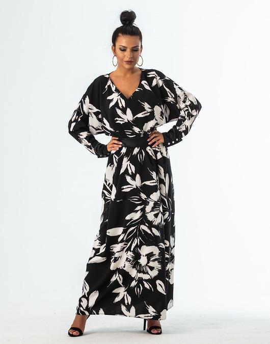 Akina biało czarna sukienka maxi