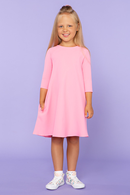 Sukienka trapezowa, model 24, różowy