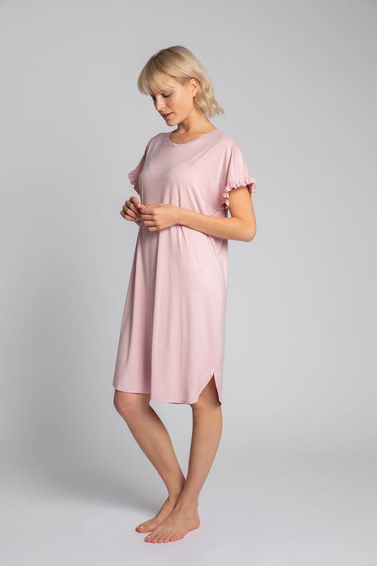 Koszula nocna z falbankami-różowy(LA-030)