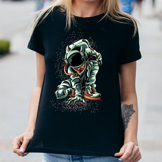 Koszulka damska czarna Zdobywca kosmosu