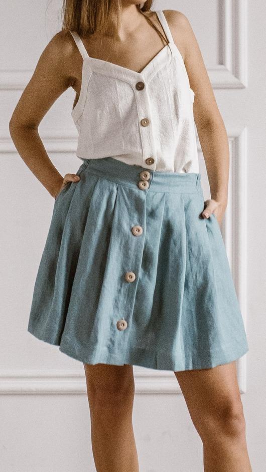 Lniana krótka spódnica, BLUE SEA